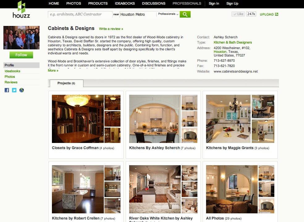 Visit us on Houzz and Pinterest