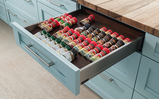 Wood-Mode Custom Cabinetry Spice Storage Drawer